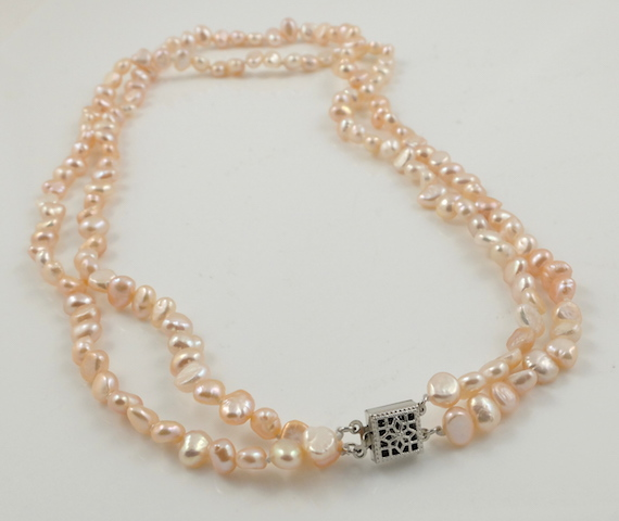 2-strand Pink Baroque Pearl Necklace 2