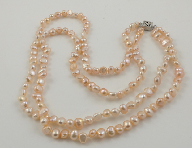 2-strand Pink Baroque Pearl Necklace