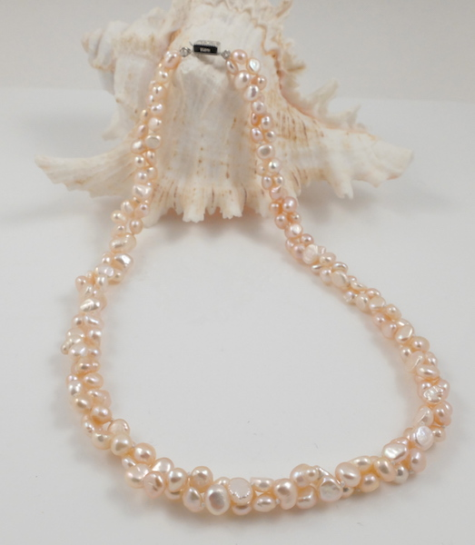 2-strand pink baroque pearl necklace 1
