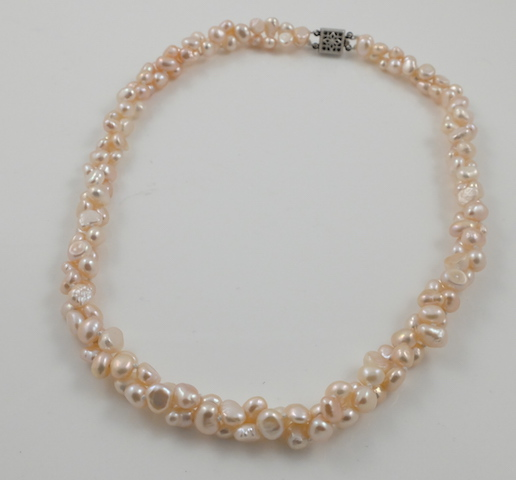 2-strand pink baroque pearl necklace twisted