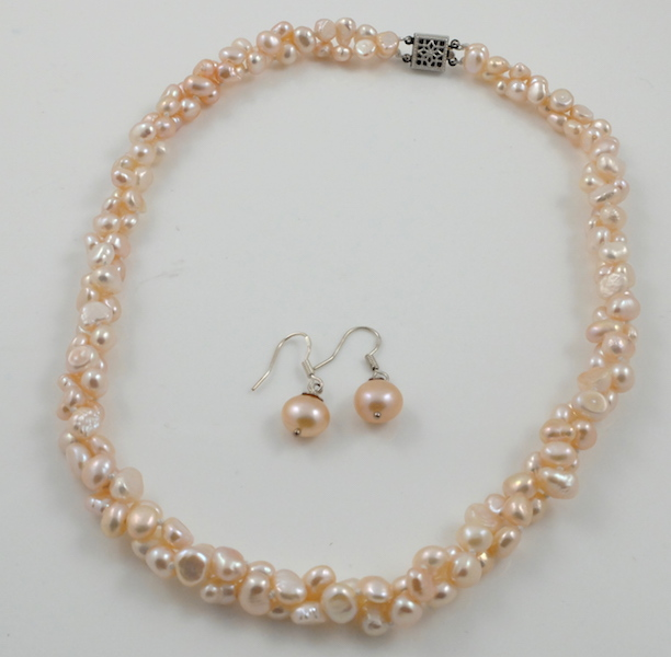 2-strand pink baroque pearl set