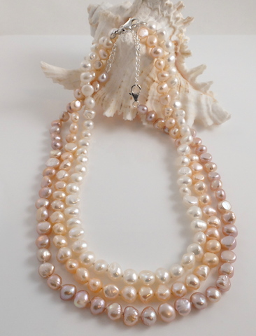 3 Colour Barouqe Pearl Necklaces