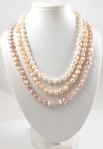 3 colour baroque pearl necklaces on model