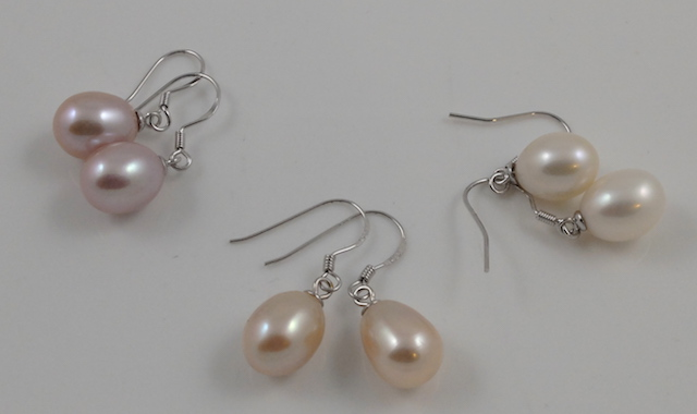 3 colour drop earrings