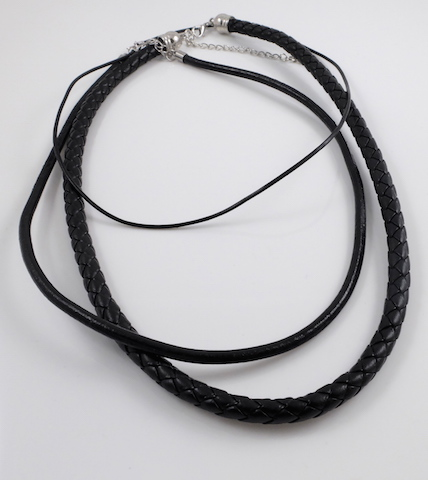 Black leather cord necklaces