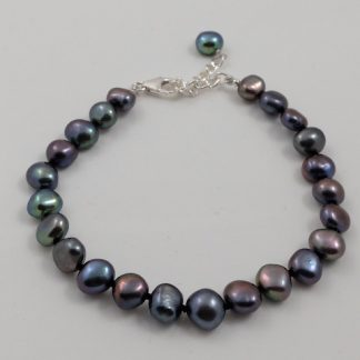 Black Baroque Pearl Bracelet & SS Clasp