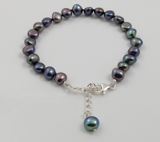 Black Baroque Pearl Bracelet & sterling silver clasp