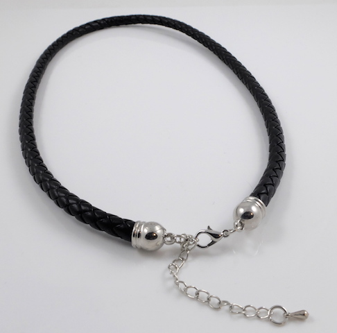 Black braided leather cord necklace clasp