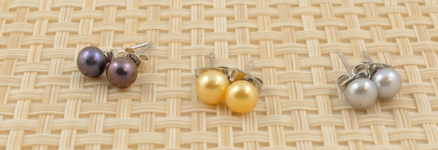 Coloured Pearl Studs 6mm