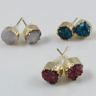 Round Druzy Brass Studs 8mm