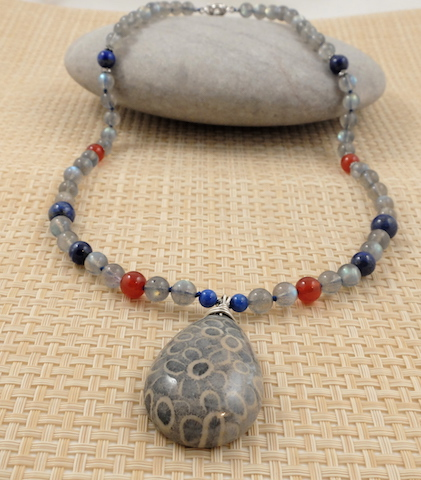 Fossil Coral & Moonstone Lapis 1