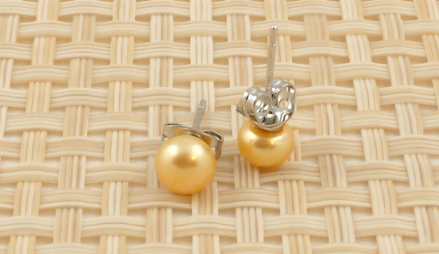 Gold Coloured Pearl Studs 6mm