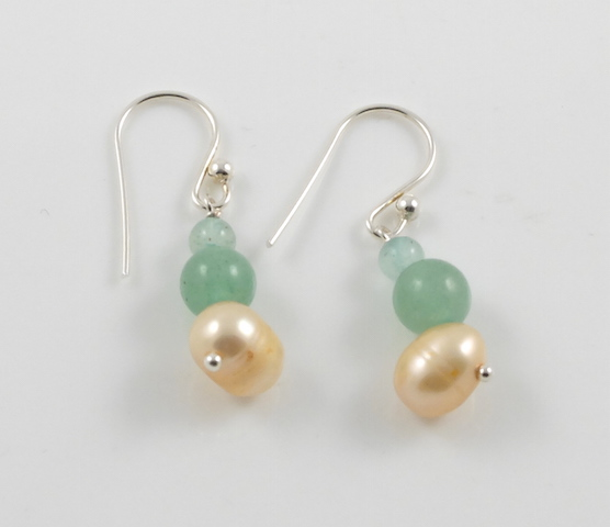 Gold Pearl & Jade earrings