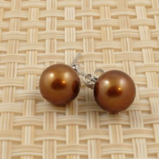 Golden Brown Round Pearl Studs