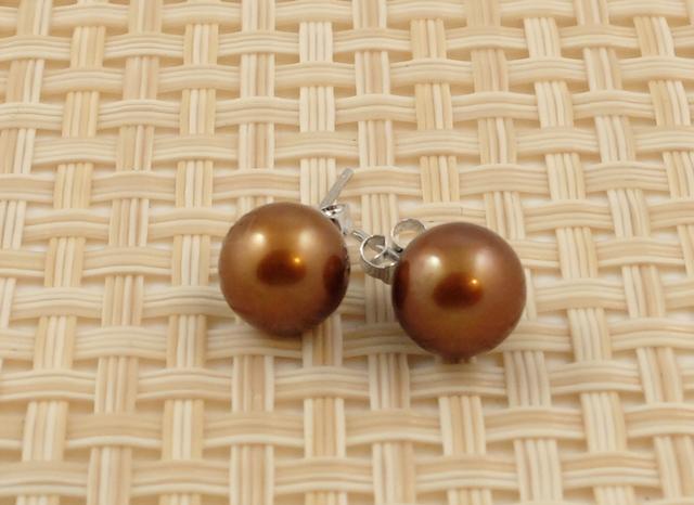 Golden Brown Round Pearl Studs