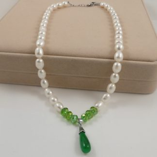 Large rice pearl & Jade pendant