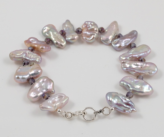 Lavender Biwa Pearl Bracelet