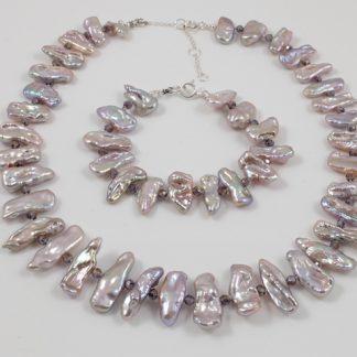 Lavender Biwa Pearl Necklace & Bracelet
