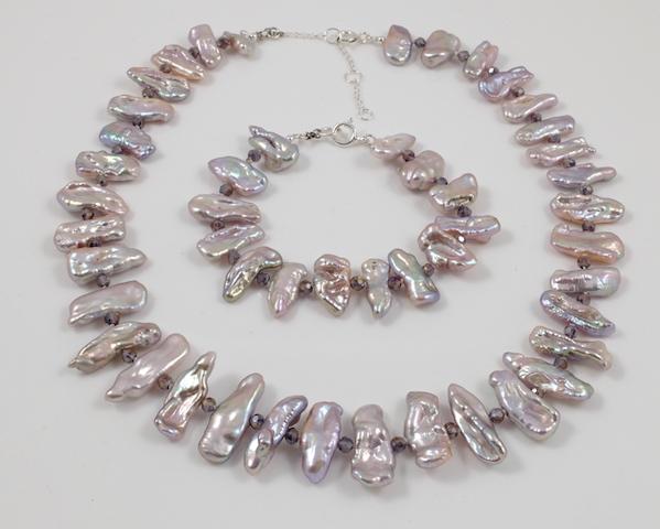 89202ffd2 Lavender Biwa Freshwater Pearl Necklace & Bracelet Sterling Silver ...
