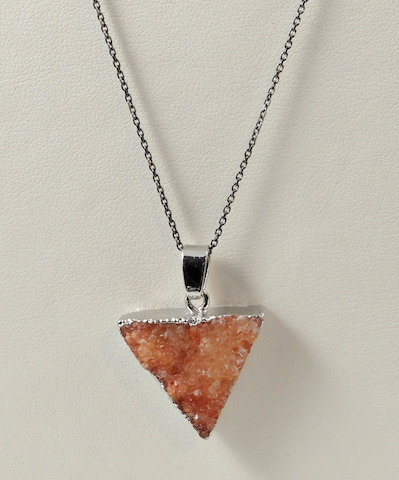 Orange Triangle Druzy Pendant & Chain
