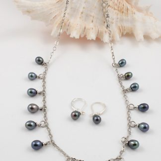 Peacock Green Pearl & Chain set