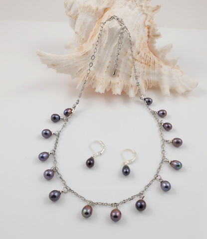 Peacock Purple Teardrop Pearl & Chain Set