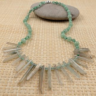 Phantom quartz & Jade necklace