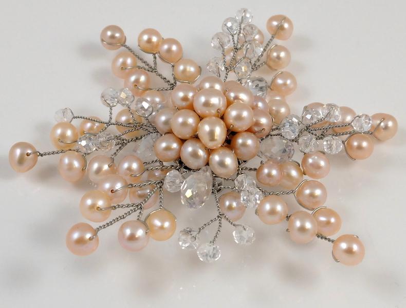 Pink Pearl Snowflake Brooch