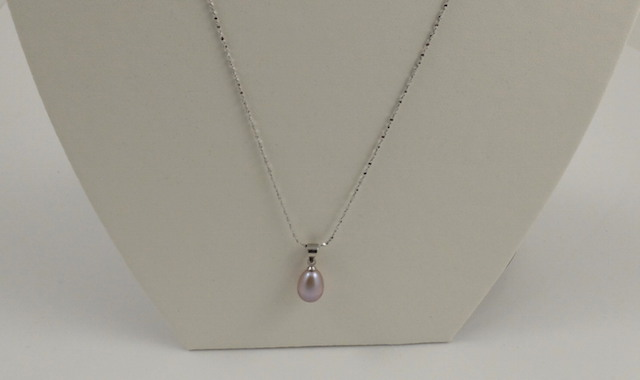 Purple drop pearl pendant & chain 2