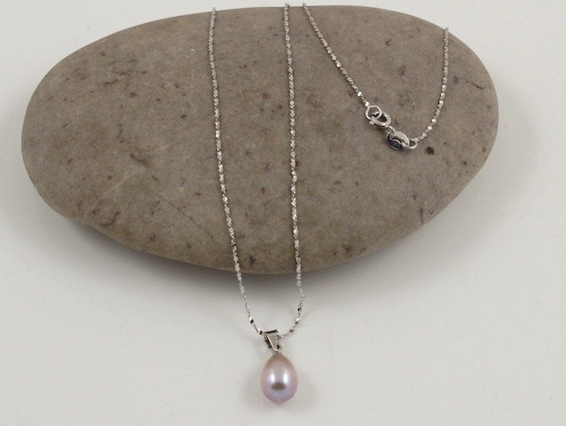 Purple drop pearl pendant & chain
