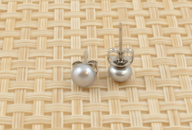 Silver Coloured Pearl Studs 6mm