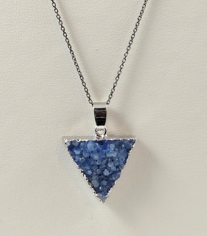 Skyblue Triangle Druzy Pendant & Chain