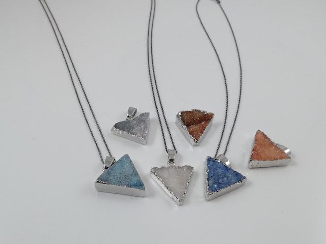 Small Triangle Druzy Pendants