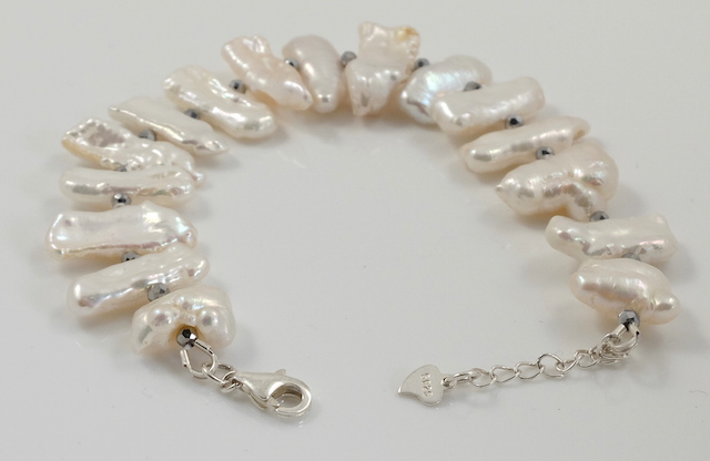 White Biwa Pearl Bracelet Sterling Silver Clasp