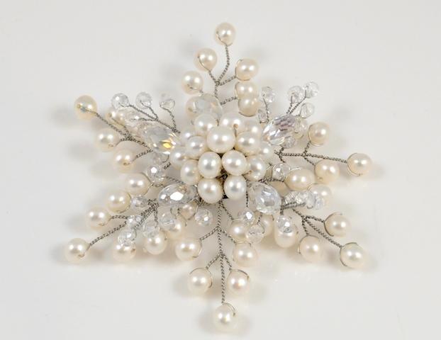 White Pearl Snowflake Brooch