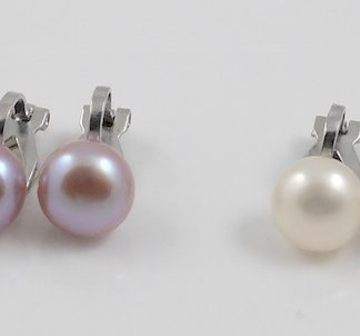 White & Pink Pearl Sterling Silver Clipons