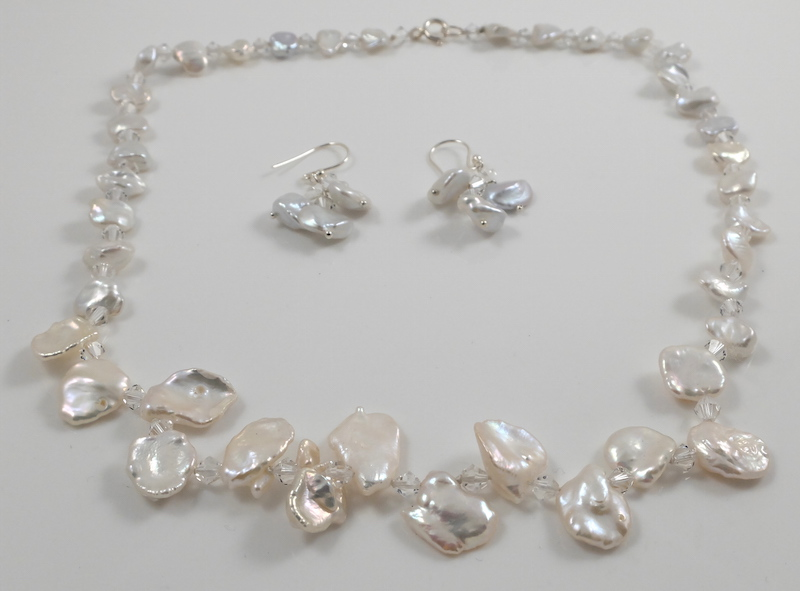 Keshi Petal Pearl & Crystal Wedding Set