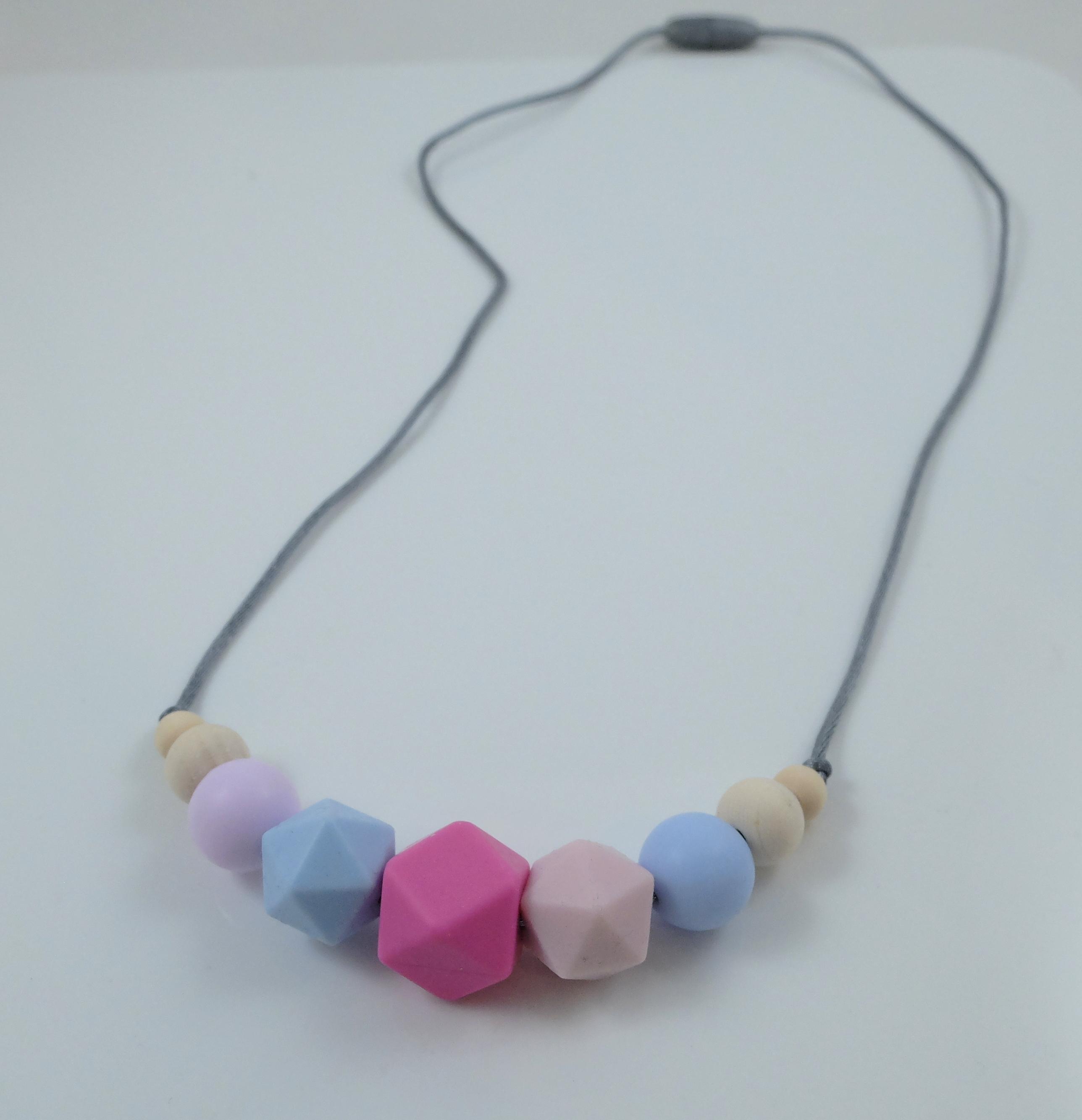 Pink Hexagon & Round Necklace