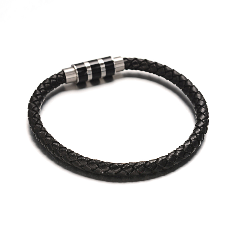 single braided leather bracelet & fancy clasp