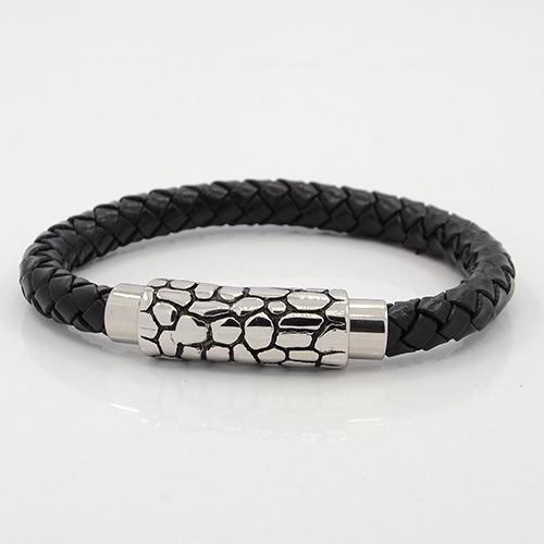 Chunky braided leather & snakeskin clasp