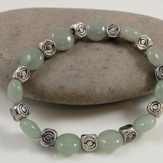 Coin Jade & Tibetan Silver bead bracelet