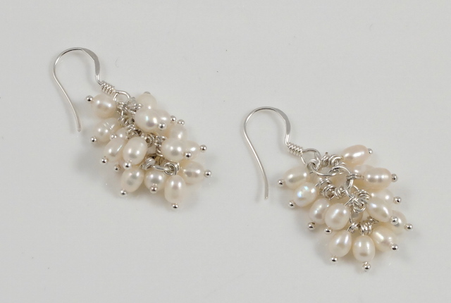 cream seed pearl earrings