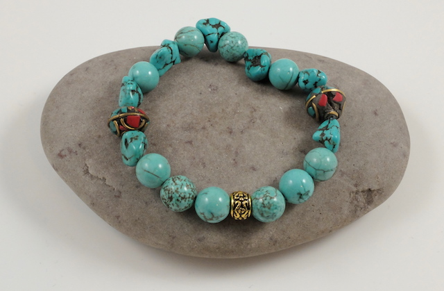 Howlite & Tibetan GGemstone Beads Bracelet