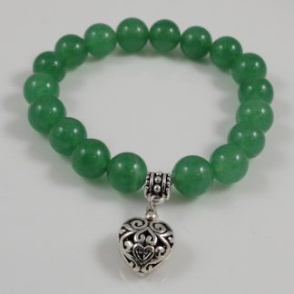 Jade 12mm & Heart bracelet