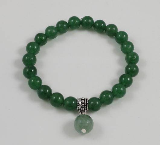 Elastic Donglin Jade & Charm bracelet