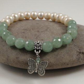 Jade & Pearl, Butterfly Charm Bracelet