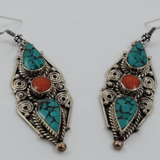 Long Turquoise & Coral earrings