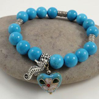 Turquoise & Cloisnne Heart bracelet