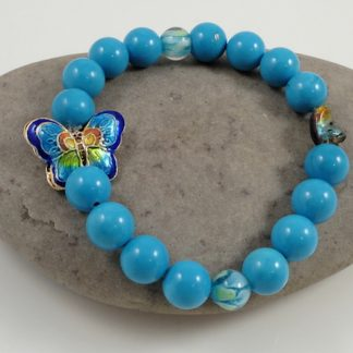 Turquoise & Cloisonne butterfly bracelet