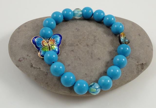 Turquoise & Cloisonne butterfly bracelet